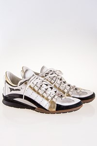 Dsquared2 White Sneakers with Black Suede Leather