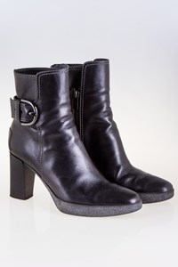 Tod's Black Leather Ankle Boots with Buckle