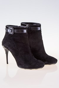 Tod's Black Suede Buckled Ankle Boots