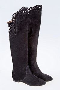 Chloé Nix Black Suede Over-The-Knee Boots