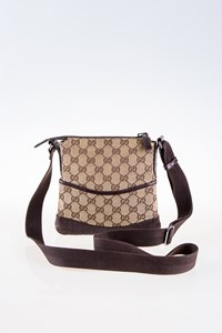 Gucci GG Canvas Bag with Perforated Leather Detail