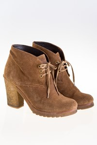 Prada Brown Suede Lace-up Ankle Boots