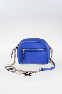 Karl Lagerfeld Blue Leather Cross-Body Bag with Charms