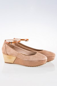Tod's Beige Suede Ankle Strap Platforms