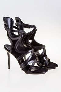 Balenciaga Runway Gladiator Black Leather Sandals