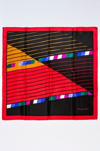 Dior Striped Silk Scarf in Black and Red