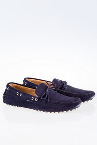 Car Shoe Dark Blue Suede Loafers