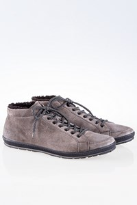 Car Shoe Grey Lace-Up Boots with Shearling