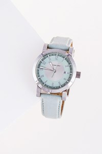 Burberry Silver Watch with Baby Blue Strap