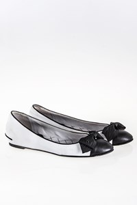 Chanel White-Black Ballerinas with Bow