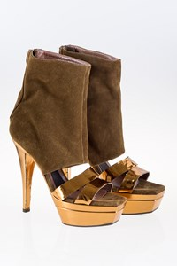 Marni Bronze Booties with Brown Suede Leather