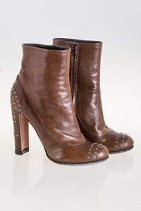 Prada Brown Ankle Boots with Studs