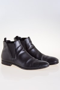 Prada Black Grain-Leather Chelsea Boots