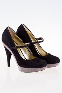 Dolce & Gabbana Black and Grey Suede Mary Jane Pumps