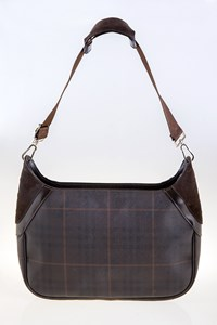 Burberry London Brown Checked Shoulder Bag