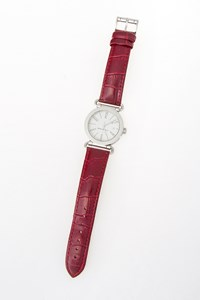 Salvatore Ferragamo Stainless Steel Watch with Burgundy Croco Leather Strap