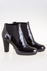 Tod's Black Leather Ankle Boots with Elasticised Vents