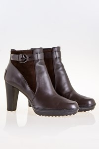 Tod's Brown Leather Ankle Boots with Strap