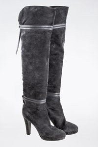 Sergio Rossi Grey Suede Over-the-Knee Boots
