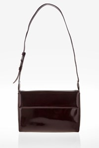 Salvatore Ferragamo Brown Patent Leather Shoulder Bag
