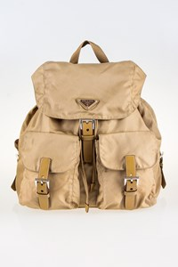 Prada Beige Nylon Backpack with Leather Details