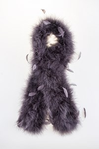 Delphine Pariente Grey-Purple Stole with Marabou Feathers