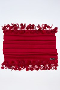 No Brand Red Wool Stole with Fringes and Pom-Pom