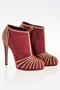 Sergio Rossi Burgundy-Gold Suede Leather Ankle Boots