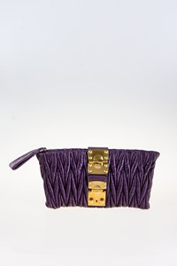 Miu Miu Purple Matelassé Quilted Leather Clutch