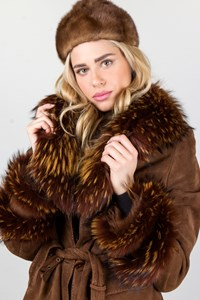 No Brand Brown Mink Fur Beanie