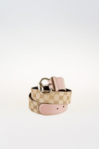 Gucci GG Coated Canvas with Dusty Pink Leather Belt