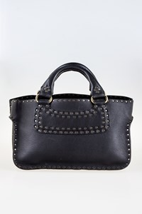 Céline Boogie Black Leather Tote Bag with Studs