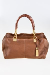Michael Kors Brown Braided Leather Handle Tote Bag