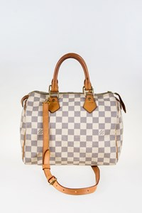 Louis Vuitton Damier Azur Canvas Speedy 25 Tote Bag with Strap