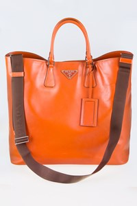 Prada Orange Oversized Tote Bag with Strap
