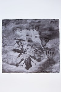Alexander McQueen Printed Silk Scarf in Grey Shades