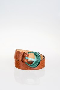 Etro Tan Leather Belt with Acetate Buckle