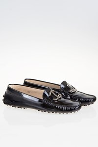 Tod's Black Patent Leather Loafers with Buckle / Size: 39 - Fit: True to size
