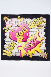 "Escada Scarf with ""Wish You Were Here"" Print"
