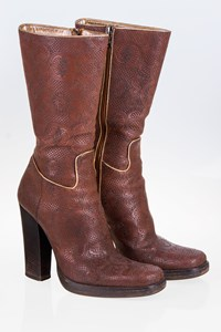 Prada Brown Leather Embroidered Boots / Size: 37.5 - Fit: 38.5