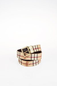 Burberry Haymarket Check and Leather Belt