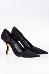 Prada Black Suede Pointed Pumps / Size: 37.5 - Fit: True to size