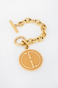 Gucci Gold-Plated Logo Charm Bracelet