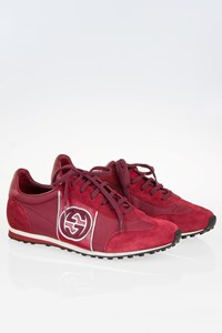 Gucci Burgundy Interlocking Lace-Up Men's Sneakers / Size: 8.5 G (42.5)