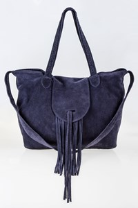 GRECIAN CHICK P Navy Blue Suede Bag