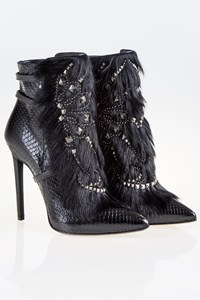 Roberto Cavalli Black Leather Ankle Boots with Fur and Studs / Size: 40 - Fit: 38.5