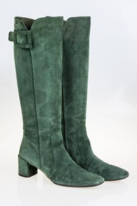 Roger Vivier Forest Green Suede Boots / Size: 38.5 - Fit: True to size