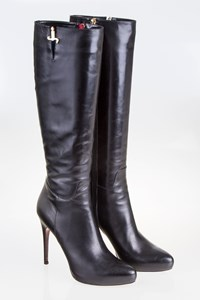 Cesare Paciotti Black Boots with Lace-Print Soles / Size: 38.5 - Fit: Tight