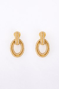 Dior Pave Crystal-Embellished Gold-Tone Clip Earrings
