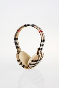 Burberry Beige Check Cashmere Earmuffs / Size: One Size